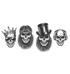Rock and roll skull set vector