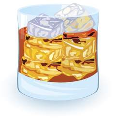 scotch on rocks alcohol cocktail vector image