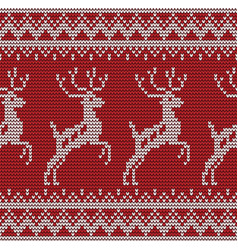seamless deer knitting pattern vector image
