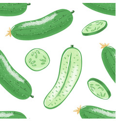 seamless pattern with cucumber grunge effect vector image