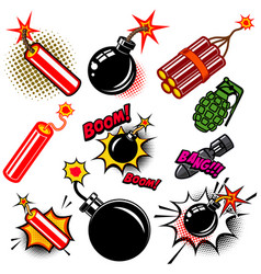 Set of comic style bombs dynamite grenade design vector