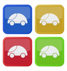 set of four square icons with car vector image