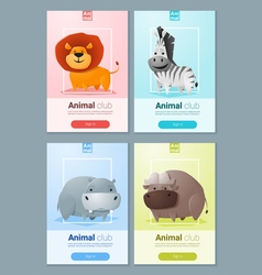 Set wild animal templates for web design 1 vector