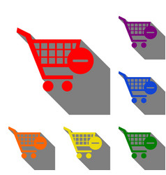 shopping cart with remove sign set of red vector image