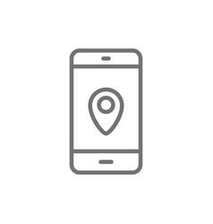 smartphone with destination mark navigator vector image