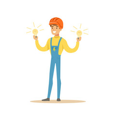 smiling electrician in uniform standing and vector image