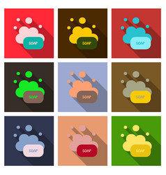 Soap flat icon bubbles with shadow vector