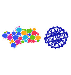 Social network map of andalusia province with chat vector