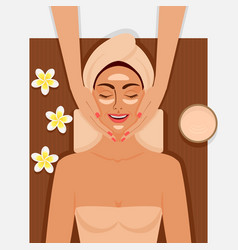 spa therapy girl getting facial massage at spa vector image