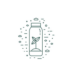 sprout in bottle eco icon in line art vector image