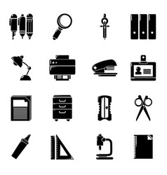 Stationery icons set simple style vector