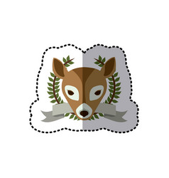 sticker crown leaves and label with deer animal vector image
