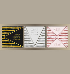 Stripe and marble cover set vector