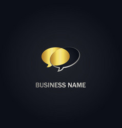 talk buble conversation gold logo vector image