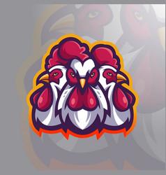 Three chickens mascot vector