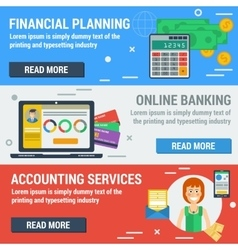 Three horizontal banners FINANCIAL ACCOUNTANT vector image vector image