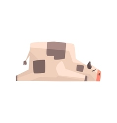 Toy Simple Geometric Farm Cow Laying Sleeping vector
