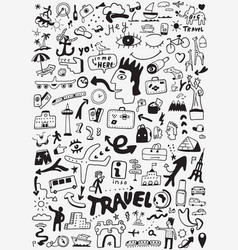 Travel transportation doodle vector