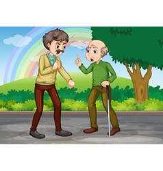 Two old men fighting in the park vector image