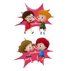 Two pair of kids dancing vector