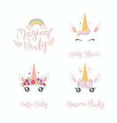 Unicorn faces baby shower set vector