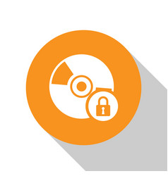 White cd or dvd disk with closed padlock icon vector