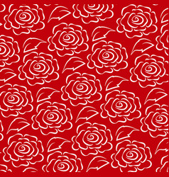 white rose line pattern on red background vector image