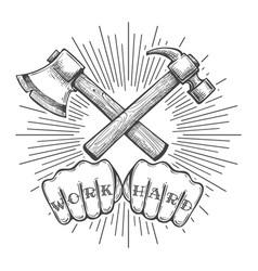 work hard tattoo vector image