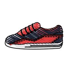 Color drawing pencil cartoon sneaker sport shoes vector