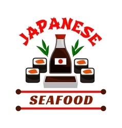 Japanese seafood restaurant icon Sushi and sauce vector image vector image