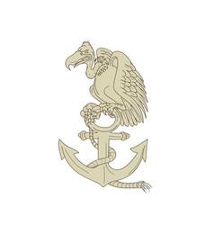 buzzard perching navy anchor cartoon vector image