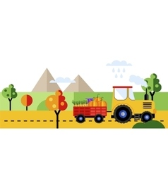 Farm tractor with harvest of vegetables vector image