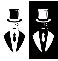 gentleman in tuxedo and vintage hat vector image