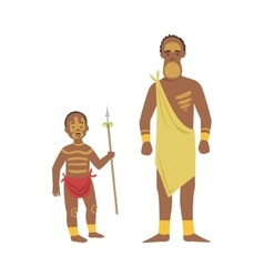 Man and boy from african native tribe vector