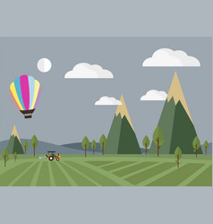 tractor in the field with balloon vector image