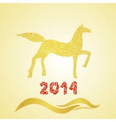 2014 new year gold horse silhouette vector image