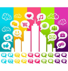 Colorful City with Social Media Icons vector image