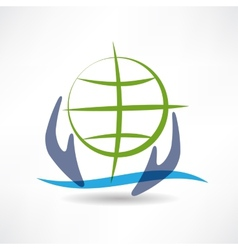 Eco Earth in hands icon vector image