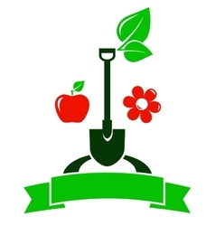 garden sign with fruit and flower vector image vector image