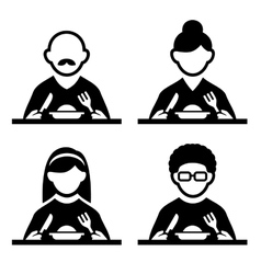 People Eating Tasting Food Pictogram Icon Set vector image vector image
