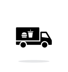 Truck with food simple icon on white background vector image vector image