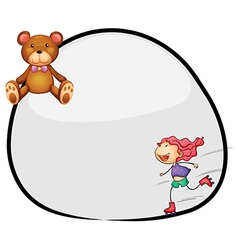 A round template with a young girl rollerskating vector image vector image