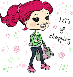 Cute hipster baby girl with bag vector image