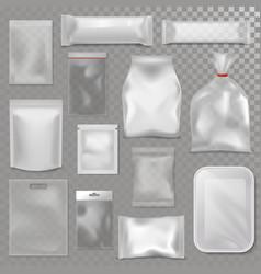 empty plastic bag package mockup transparent pack vector image