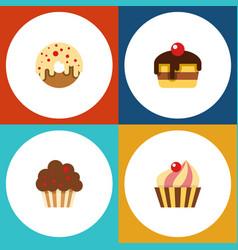 flat cake set of doughnut muffin dessert and vector image