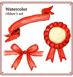Watercolor ribbons set in vintage style vector image