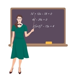 Young teacher woman in costume near the desk on vector image vector image