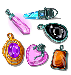 A set of pendants made of precious stones isolated vector