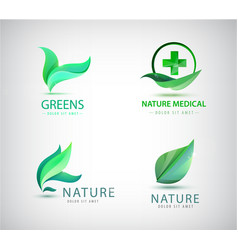 abstract green leaf logo leaves icons vector image