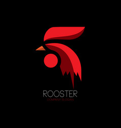 Abstract red rooster logo vector